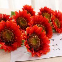 Декоративные цветы венки 1bunch одиночная головка 5 дюймов подсолнечника шелковая ткань симуляция искусственная длина 45см DIY свадебный дом декор сада