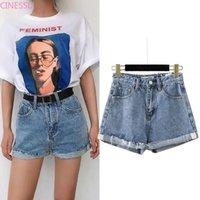Streetwear Yüksek Bel Kot Kadınlar Mavi Denim Şort Kemer Yaz Rahat Kadın Geniş Bacak Artı Boyutu Jean Giyim Kadınlar