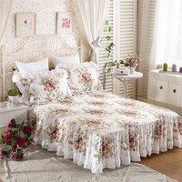 Лучшие цветочные напечатанные рюшащие кроватный кроватный кроватный матрас крышка 100% атласная хлопковая постельное белье Лист принцесса постельное белье Главная Текстиль постельное белье: 1 Кровать юбка + 2 наволочка