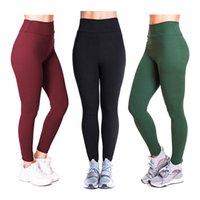 Зохра Новые твердые цветные йоги брюки женские высокие талии эластичные леггинсы