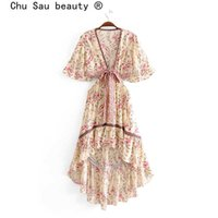 Chu Sau Beauty New 2019 Boho Floral Imprimer Swing Robe Swing Femmes Vacances Style Fashion Robes irrégulières Femme Vestine de Moda Y0628