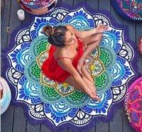 Chales de impresión poligonal colgando bola borla redondo yoga estera loto colorido playa toalla de fiesta