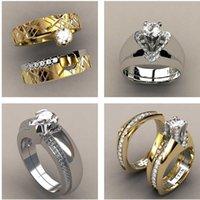 Lüks Kadın Zirkon Taş Yüzük Seti Benzersiz Stil Kristal Altın Renk Gelin Promise Nişan Yüzük Kadınlar Için Düğün