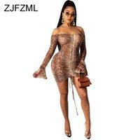 Snake Tie Dye Tryckt Ruch Drawstring Wrap Dress Woman Off Shoulder Long Flare Sleeve Sheath Dresses Retro Backless Robe Femme 210329