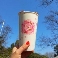 2019 Starbucks Day sakura coffee cup 12OZ Cherry Blossom series pink double ceramics mug with lid