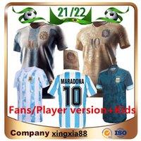 Argentinien Gedenkausgabe 2022 Männer + Kinder Kit Fussball Jersey Retro 1986 21 22 MAILLOTES de Foot Maradona Special Badge Messi Fußball Hemd Uniform Messi
