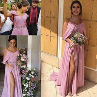 Modern Sweetheart Neckline Bridesmaid Dresses with Handmade Flowers Sash Wedding Party Gowns Side SPlit Long Chiffon Prom Formal Bride Vestidos M131