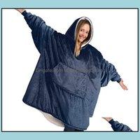 Textiles Home & Gardenwinter Outdoor Hooded Pocket Blankets Warm Soft Hoodie Slant Robe Bathrobe Sweatshirt Plover Fleece Blanket With Sleev