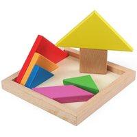 الألغاز الخشبية tangram للأطفال tangrams مع 7 قطع ملونة كل، متعة الدماغ التعليمية دعابة الدماغ، تعلم لعبة الأولاد والفتيات