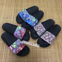 Gucci sneakers Europ Luxury Slide Summer Moda zapatillas de deporte ancho plano resbaladizo con sandalias gruesas zapatillas hombres mujeres diseño zapatos flip chanclas