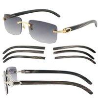 도매 하이 엔드 대리석 검은 버팔로 경적 8200757 무선 선글라스 18K 골드 여자 안경 운전 안경 크기 : 57-20-140mm
