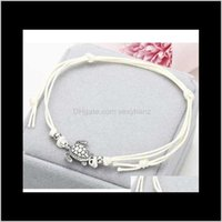 Drop Delivery 2021 Ns37 Summer Beach Turtle Shaped Charm Rope String Anklets For Women Ankle Bracelet Woman Sandals On The Leg Chain Foot Jew