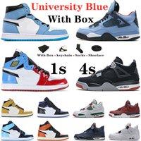 Üniversite Mavi 1 S Erkek Basketbol Ayakkabıları Jumpman 1 Koyu Mocha Chicago Bred 4s Yangın Kırmızı Siyah Kedi Bayan Eğitmenler Spor Sneakers ile Kutusu