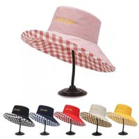 Spring and summer lady fisherman hat outdoor beach travel shading fashion trend double-sided plaid letter embroidered large edge versatile design