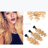 8A Grade 1b 27 Honey Blonde Ombre Hair Weave With Lace Frontal Pre Plucked Brazilian Human Virgin Body Wave Hair With Lace Frontal