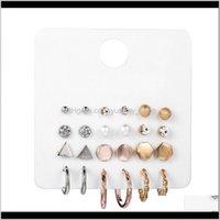 Hoop Hie Creative Personalized Sier Rose Gold Three Colors 1 Card 12 Pairs Of Geometric Earrings Wowwi Devzs