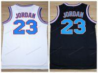 미국에서 배송 Michael MJ # 23 튜닝 스쿼시 공간 잼 농구 유니폼 영화 남성 모든 스티치 화이트 블랙 유니폼 크기 S-3XL 최고 품질