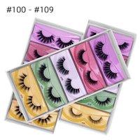 20 pares / lote Pestañas falsas Caja colorida Natural Largo Maquillaje Extensión de la pestaña para la pestaña de belleza reutilizable falsifique