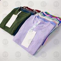 2021 요가 Womens 스포츠 티셔츠 착용 신속한 테크 숙녀 반팔 티셔츠 습기 니트 높은 탄성 피트니스 패션 티셔츠