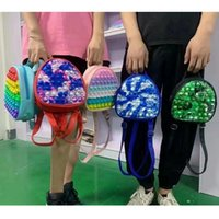 Kids Backpack Knapsack Push Bubble Toy Rainbow Macaron Color Party Favor Bag 19*18.5cm 5 Styles Silicone Stress Reliever Toys by sea LLA1005