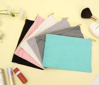 DHL50PCS 12OZ Baumwolle Canvas Kosmetiktasche mit Gold Metall Reißverschluss Blank Make-up-Taschen Größe = 22 * 15cm