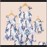 Roupas de bebê bebê, crianças maternidadepatpat verão mamãe e mim botânica impressão floral bowknot decoração vestido de tanque família roupas combinando