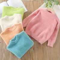 Autumn Winter Warm 2-10 Years 90-140cm O-Neck Knitted Candy Color Slim All Match Thickening Sweaters For Baby Kids Girls 210414