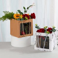 Kraft Paper Gift Tote Boxes With Clear Window Packing Gifts Transparent Handle Bags For Wedding Party Decoration Wrap