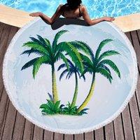Tassel Beach Towel Coconut Tree Impresso Tapeçaria Poliéster Praia Cobertores Borla Mulheres Xale Yoga Mat Tapetes Piquenique 10 Designs RRD7245