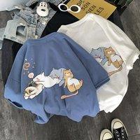 Латенеолон синий Япония кошка футболка мужской забавный Harajuku TEE уличная одежда пара мода молодежь половина рукава негабаритных корейских футболок мужская футболка
