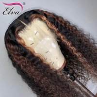 Highlight 13x6 Lace Front Human Hair Wigs Elva Glueless Ombre Frontal Wig With Pre Plucked Hairline Curly 8-26inches