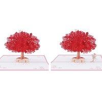 Cartes de voeux à la main Sakura Tree 3D Cartes de voeux à la main pour vos proches anniversaire d'anniversaire de mariage PIGDING
