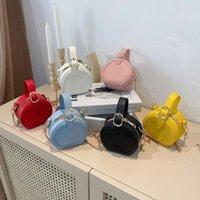 Kinder Designer Handtaschen Sommer Luxus Baby Mädchen Brief Runde Messenger Bag Kinder Solide Farbe Einzelner Umhängetaschen Inlay Strass Geldbörse F178