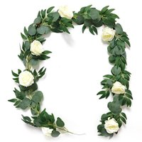 Decorative Flowers & Wreaths Artificial Silver Dollar Eucalyptus Leaves Garland Greenery Willow Twigs Wedding Arch Backdrop Wall Party Decor