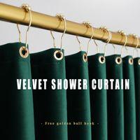 Nordic Samt Zwei Böden Dusche Überlegene Qualität Gothic Decor Vorhang Set Kostenloses perforiertes wasserdichtes Stoff warm