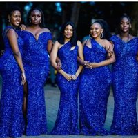 Royal Blue Sequins Bridesmaid Dresses 2022 Mermaid Floor Length Satin One Shoulder Custom Made Plus Size Maid of Honor Gown Country Beach Wedding Party Wear vestidos
