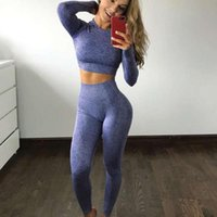 Sin fisuras 2 piezas Mujeres Yoga Set Gimnasio Ropa Fitness Leggings + Camisas recortadas Traje deportivo Traje de manga larga Traje activo Desgaste