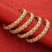 Bangle 24K Bangles 4Pcs lot Ethiopian Africa Fashion Gold Color For Women African Bride Wedding Bracelet Jewelry