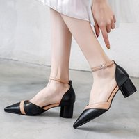 Dress Shoes Casual Work High-heeled Women Thick With Wild Baotou Sandals 2021 Pointed Toe All-match