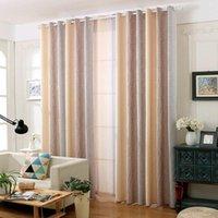 커튼 드립 린넨 블랙 아웃 소박한 면화 커튼 물 웨이브 패턴 그라데이션 낭만적 인 거실 침실 창 치료