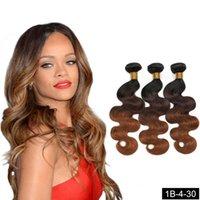 바디 웨이브 kenica 버진 브라질 Weft ombre 인간의 머리카락 확장 3 톤 컬러 1B / 4 / 30 100g / 번들