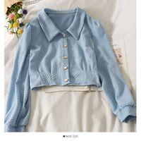 French Lapel Single-breasted Cardigan Short Blouse Female 2021 Pleated Blusa Slim Long-sleeved Shirt Kk983