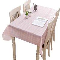 Su geçirmez ve yağ geçirmez masa örtüsü ile basit damalı desen 137 * 90 cm PVC yıkama ücretsiz ev mobilya standı masa standı rh bez için