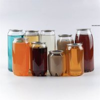 NEWPlastic Beverage Bottle Can 350ML 500ML 650ML Ring-pull Can Round Water Bottles Disposable food grade Juice Cups sea shipping CCB9047