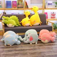 55cm/70cm Lovely Cow&Elephant&Deer&Hippo&Crocodile Plush Pillow Soft Cartoon Animal Stuffed Toy Sofa Home Cushion Doll Kids Gift