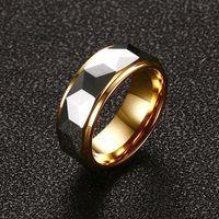 Многогранное кольцо из карбида вольфрама Многогранная призма для мужчин свадебная полоса 8 мм комфортные помещения