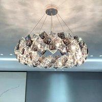 Kolye Lambaları Modern Loft Sanat Çelenk Tasarım Kristal Avize Lüks Salon Restoran Vila Uzun Bar Dekor Asılı Işık Fikstür