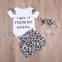Born Baby Girl Tops Leopard Pants Suit Round Neck Short Ruffle Sleeve Romper Warm Loose Summer Shorts Headband 3Pcs Outfits Clothing Sets
