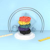 Pop Fidget Reliver Stress Toys Party Favor Push It Bubble Antistress Adult Children Sensory Toy - to Relieve Autism Bracelet Keychain