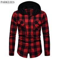 Fashion Red Black Plaid Hoodie Shirt Men Slim Fit Long Sleeve Mens Hooded Shirts Hipster Buffalo Plaid Shirt With Double Pockets 210522